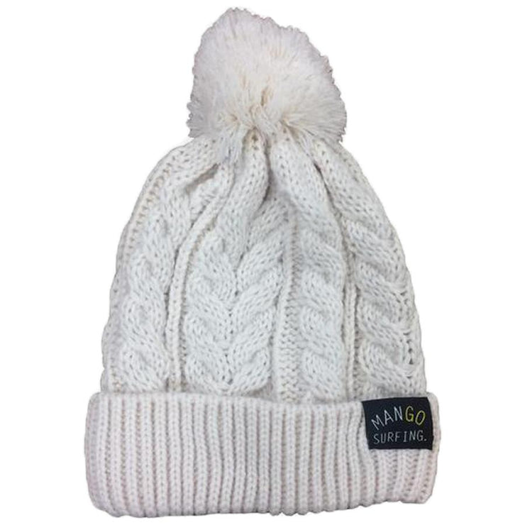 Surf Shop, Surf Clothing, Mango Surfing, Mango Bobble Beanie, Hat, Off White