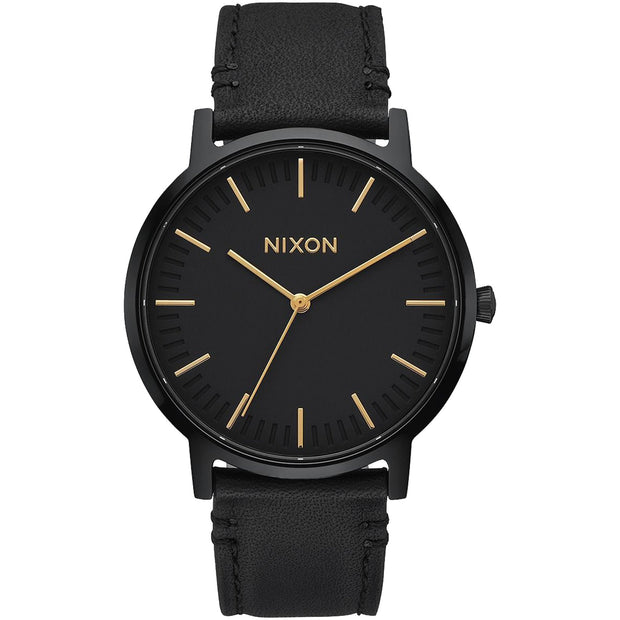 Surf Shop, Surf Clothing, Nixon, Porter Leather, Watch, All Black/Gold