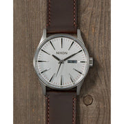 Surf Shop, Surf Clothing, Nixon, Sentry Leather, Watch, Silver/Brown