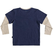 Surf Shop, Surf Clothing, Quiksilver, Retro Beach Double Sleeve, Tshirt, Medival Blue Heather