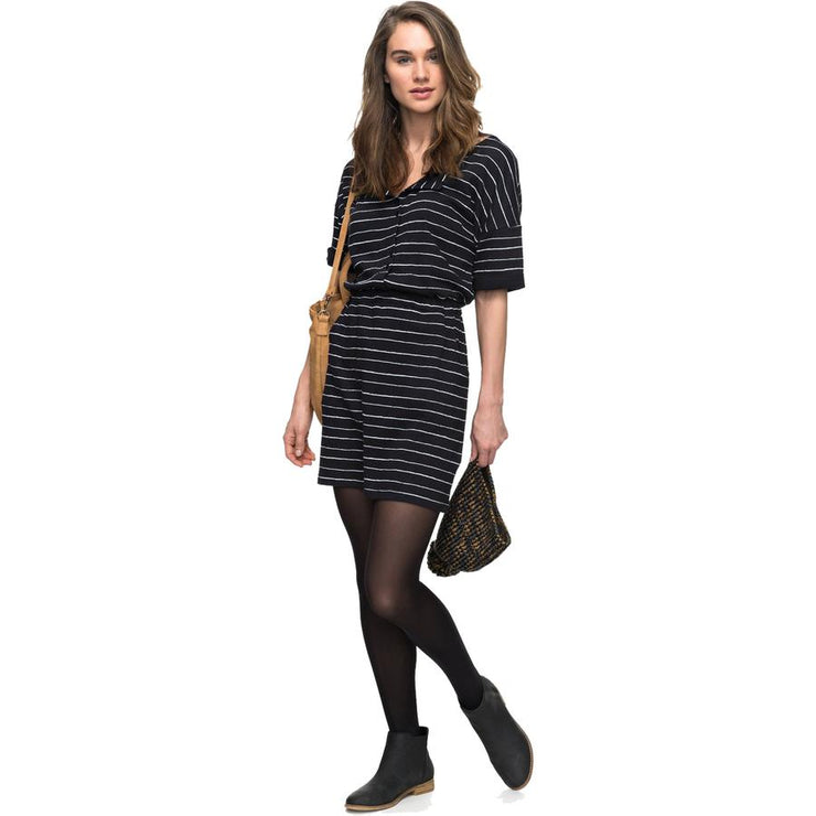 Surf Shop, Surf Clothing, Roxy, Feel It All Short Sleeve Dress, Dresses, Anthracite Pencil Stripe