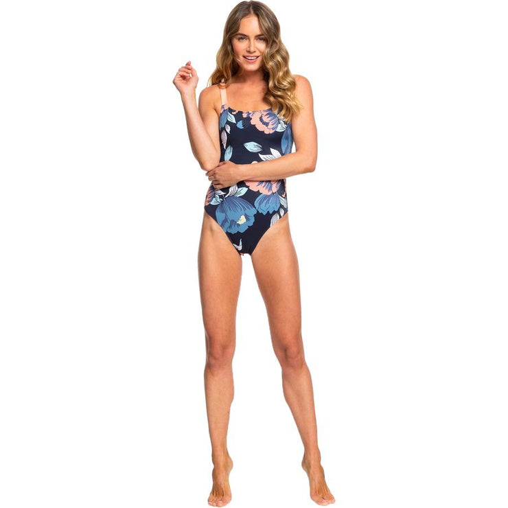 Surf Shop, Surf Clothing, Roxy, Roxy Fitness One Piece Swimsuit, Bikinis, Med Blue Flowers