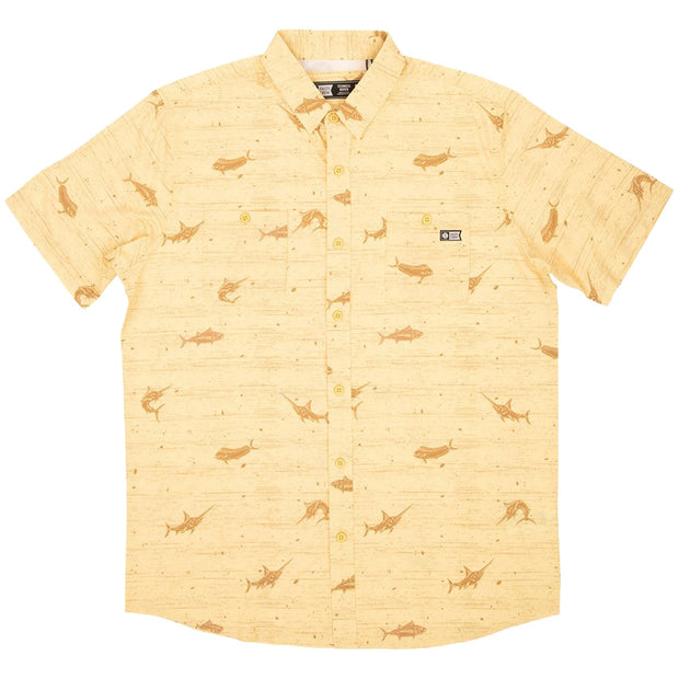 Surf Shop, Surf Clothing, Salty Crew, Horizon Short Sleeve UV Woven, Shirts, Yellow