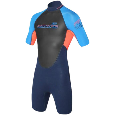 Surf Shop, Surf Hardware, C-Skins, C-Skins Element 3x2 Jnr Shorti, Wetsuit, Navy/Flo Red/Cyan