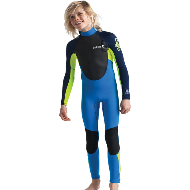 Surf Shop, Surf Hardware, C-Skins, Element 3/2 2019 Jnr Unisex Steamer Wetsuit, Wetsuits, Cyan/Yellow/Navy