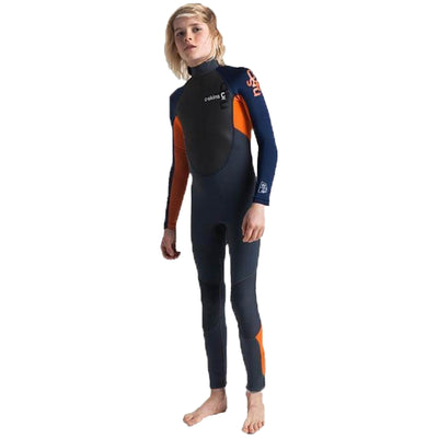 Surf Shop, Surf Hardware, C-Skins, Element 3;2 Jnr Unisex Steamer, Wetsuit, Graphite/Orange/Navy