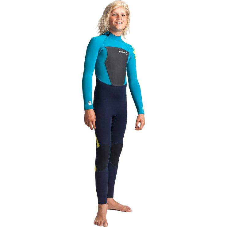Surf Shop, Surf Hardware, C-Skins, Legend 5/4/3 Junior Back Zip Steamer, Wetsuit, Slate/Ocean Teal/Yellow