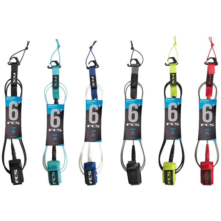 Surf Shop, Surf Hardware, FCS, 6FT Comp Essential Series, Leash, All Colours