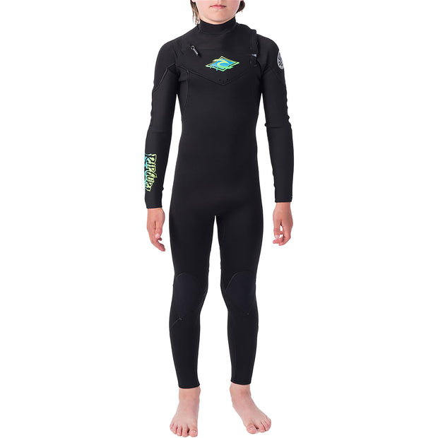 Junior Dawn Patrol 5/3 Chest Zip Wetsuit | Black/Green