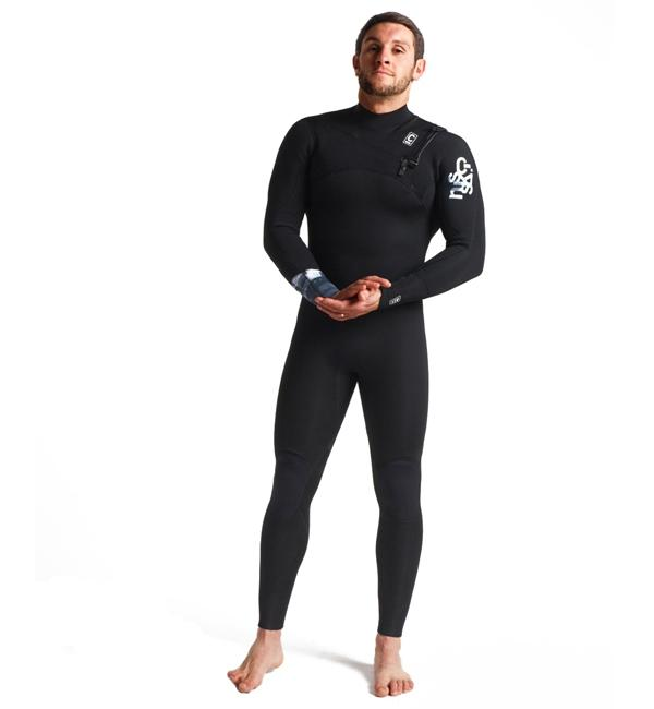 C-Skins Session 4:3 Mens GBS Chest Zip Steamer | Black/C-Ollage/Silver Grey
