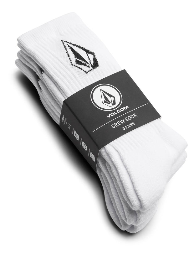 Full Stone Sock 3 Pack - White