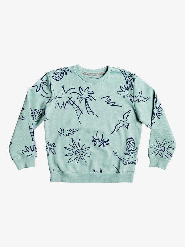 Hyams Sand Sweatshirt for Boys 2 - 7 | Pastel Turquoise Palm Oz