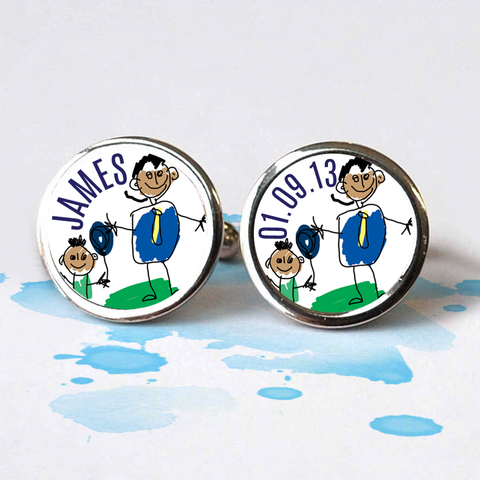 Hand Made Cufflinks With Child's Art
