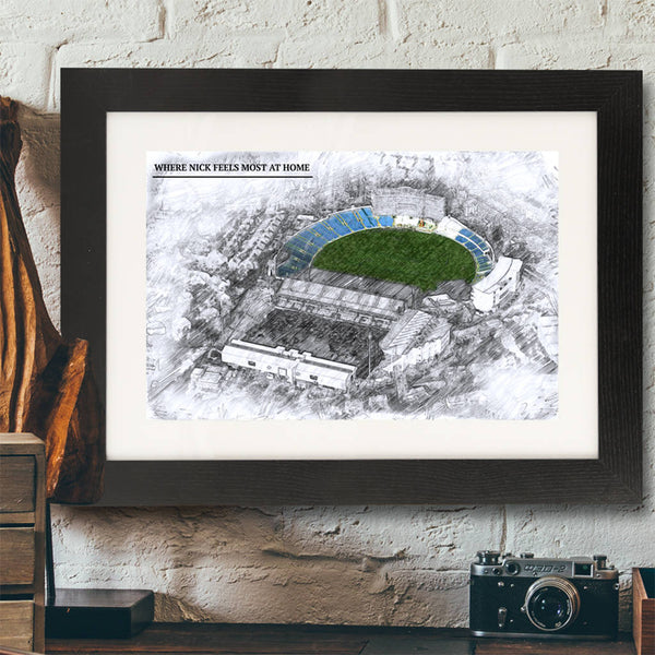 Father's Day Illustrated Cricket Ground Framed Print - Instajunction