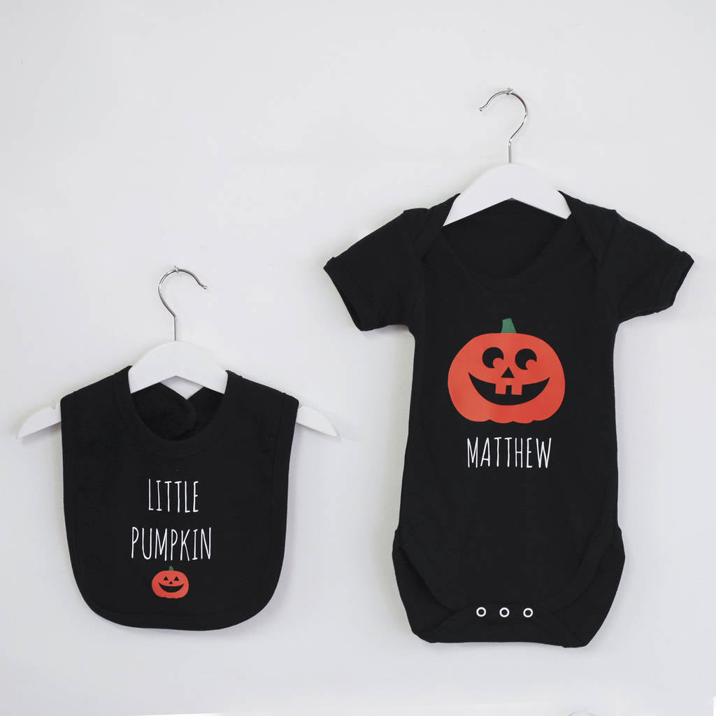 Halloween 'Little Pumpkin' Babygrow And Bib Set - Instajunction