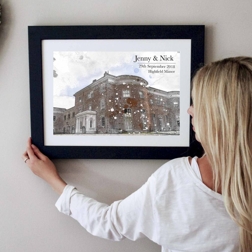 Illustrated Wedding Venue Personalised Print - Instajunction