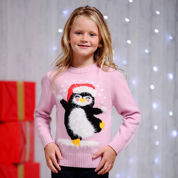 Kids Penguin Christmas Jumper With Eyelash Yarn - Instajunction