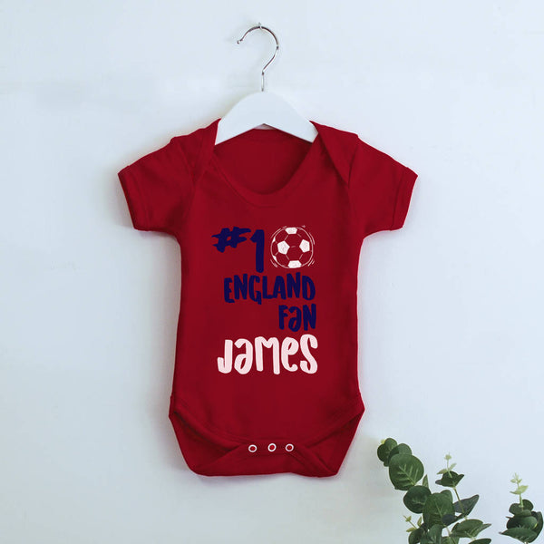 Personalised Football Number One Fan Babygrow - Instajunction