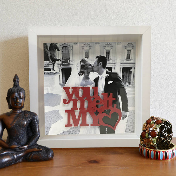 Personalised Photo And Stencil Message 3D Box Frame - Instajunction