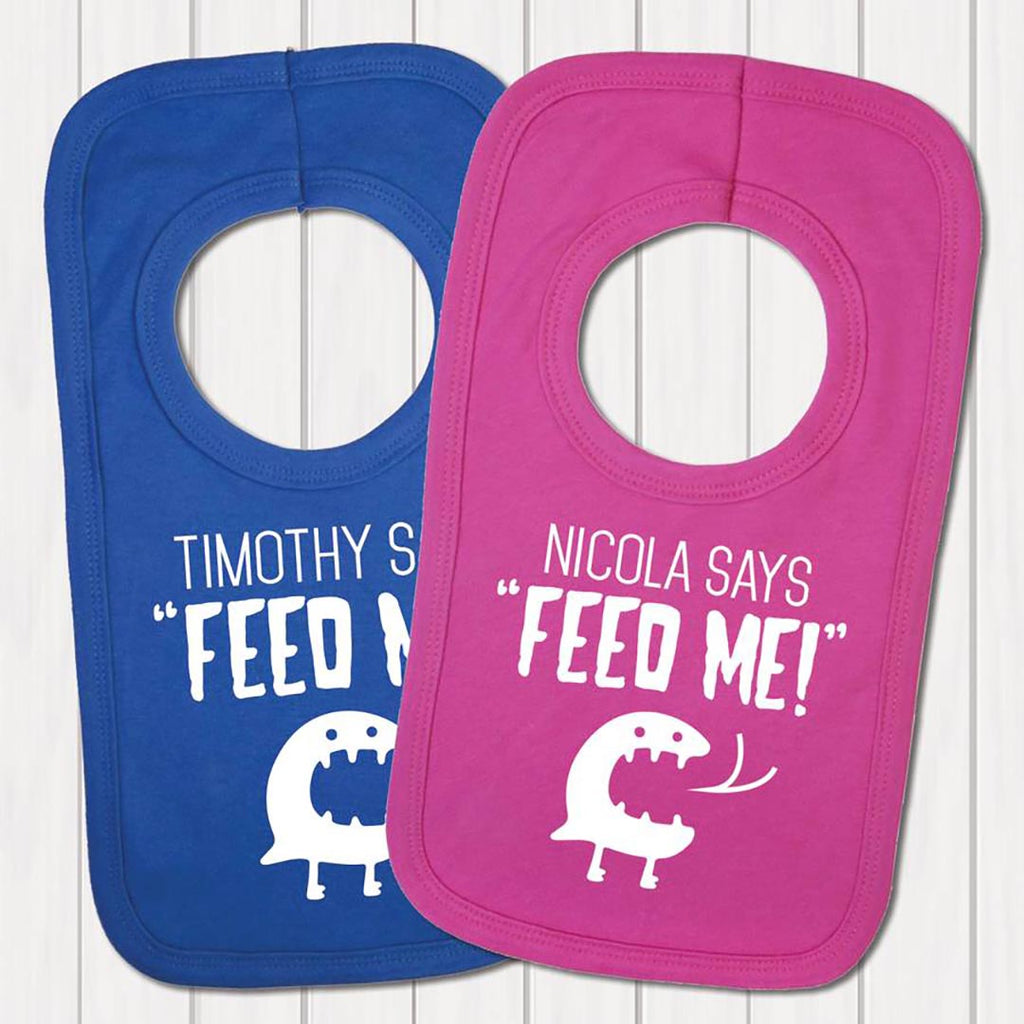 Personalised 'Baby Says Feed Me' Baby Bib - Instajunction