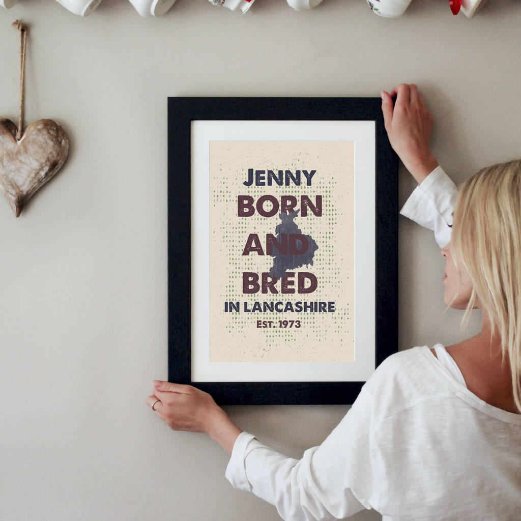 Personalised Born And Bred Counties Print - Instajunction