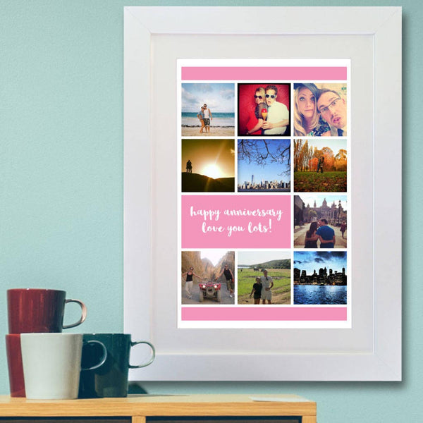 Personalised Colour Block Photo Message Framed Print