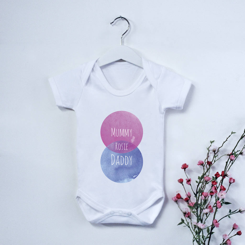 Personalised Family Venn Diagram Babygrow