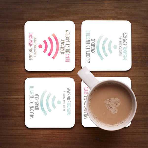 Personalised Family Wifi Coasters Set Of Four - Instajunction