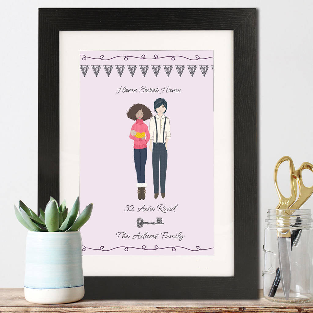 Personalised Illustrated Family Portrait Print - Version 2 - Instajunction