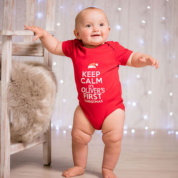 Personalised 'Keep Calm' Christmas Babygrow - Instajunction