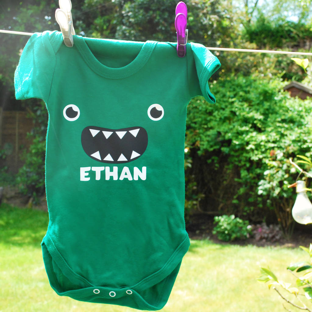 ae6560498 Personalised Little Monster Babygrow