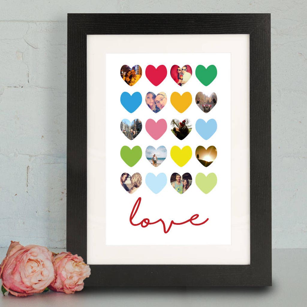 Personalised Love Hearts Framed Photo Print - Instajunction