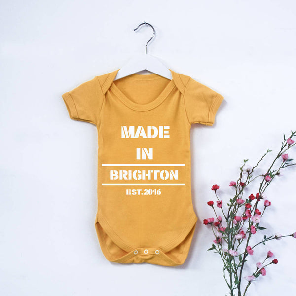 Personalised 'Made In…' Babygrow