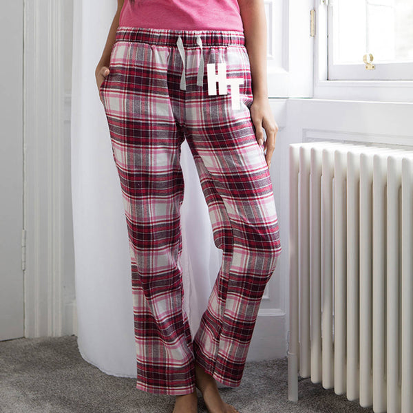 Personalised Women's Monogram Tartan Pyjama Trousers - Instajunction