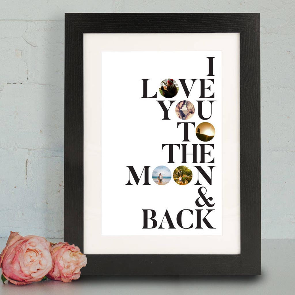 Personalised Moon And Back Framed Print