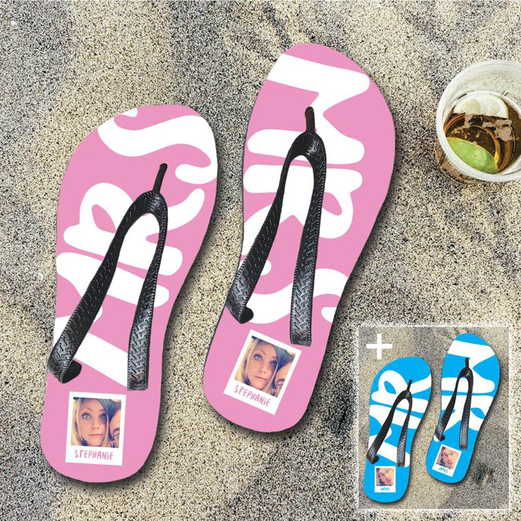 Personalised 'Mr And Mrs' Flip Flop Set