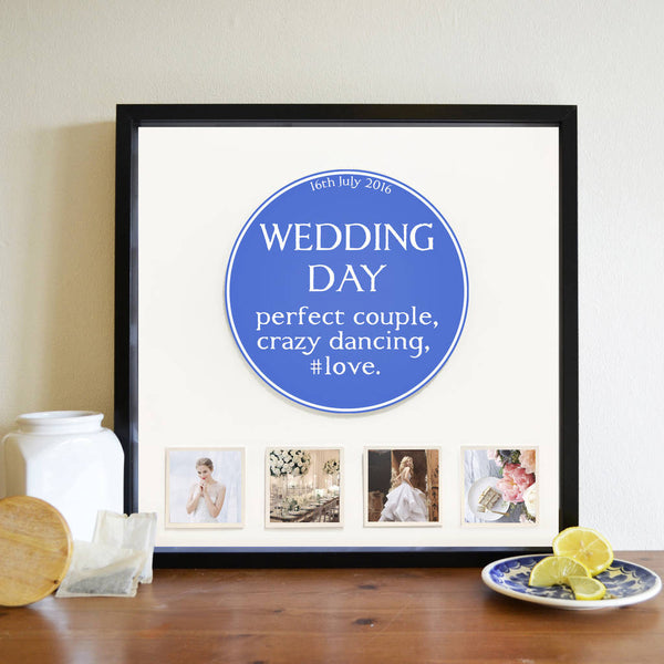 Personalised Occasion Blue Plaque 3D Box Frame - Instajunction