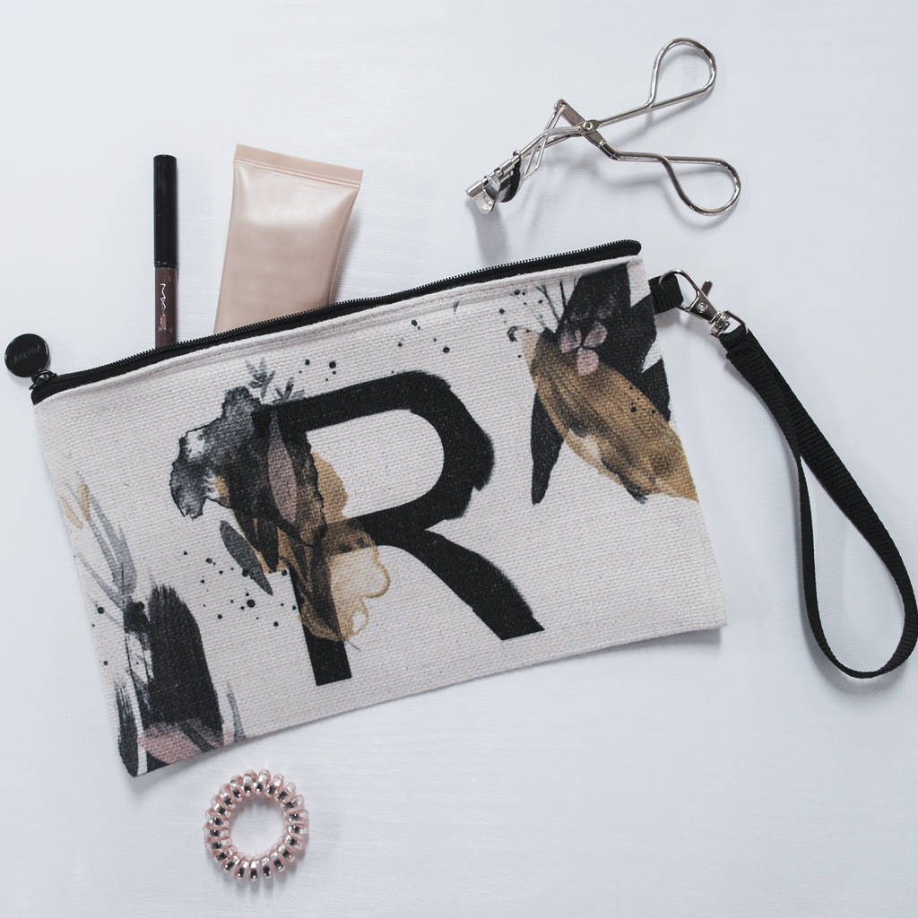 Personalised Painted Letter Makeup Bag - Instajunction