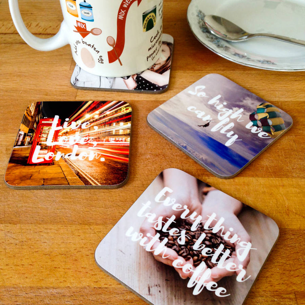 Personalised Photo And Message Drinks Coasters - Instajunction