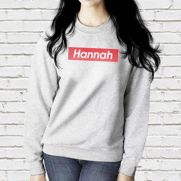 Personalised Red Box Named Unisex Sweatshirt
