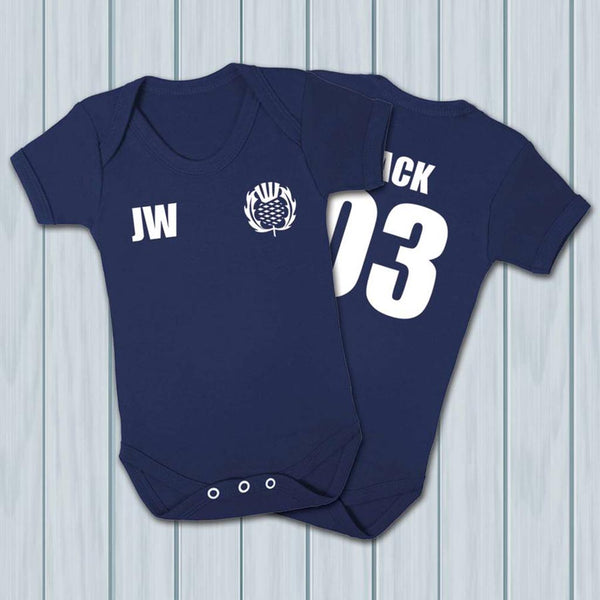 Personalised Scotland Rugby Supporters Babygrow - Instajunction
