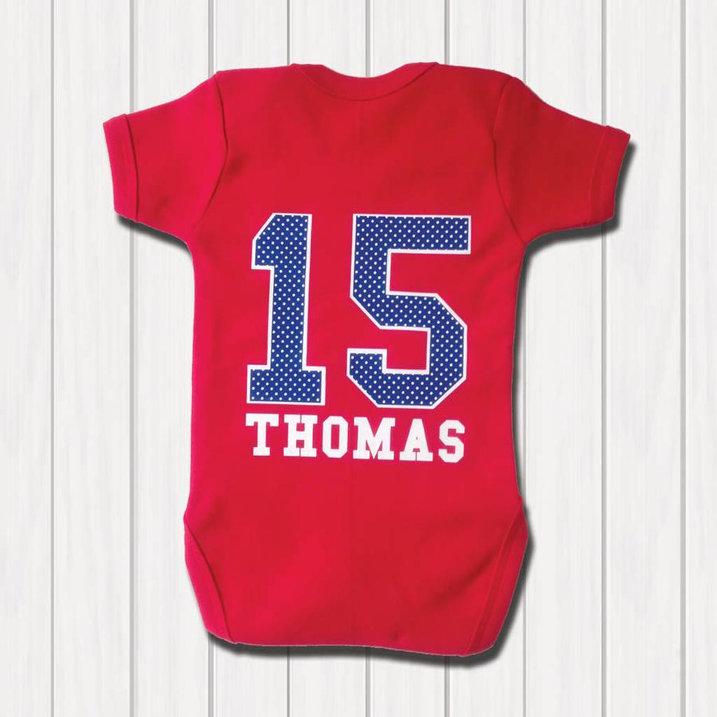 Personalised Sports Number Babygrow