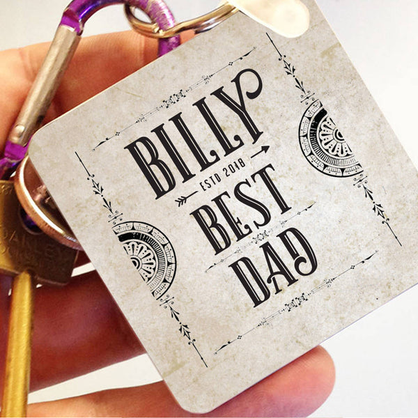 Personalised Vintage 'Best Dad' Keyring - Instajunction