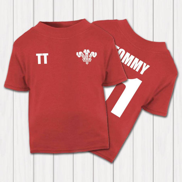 Personalised Wales Rugby Supporters Baby And Toddler T-Shirt - Instajunction