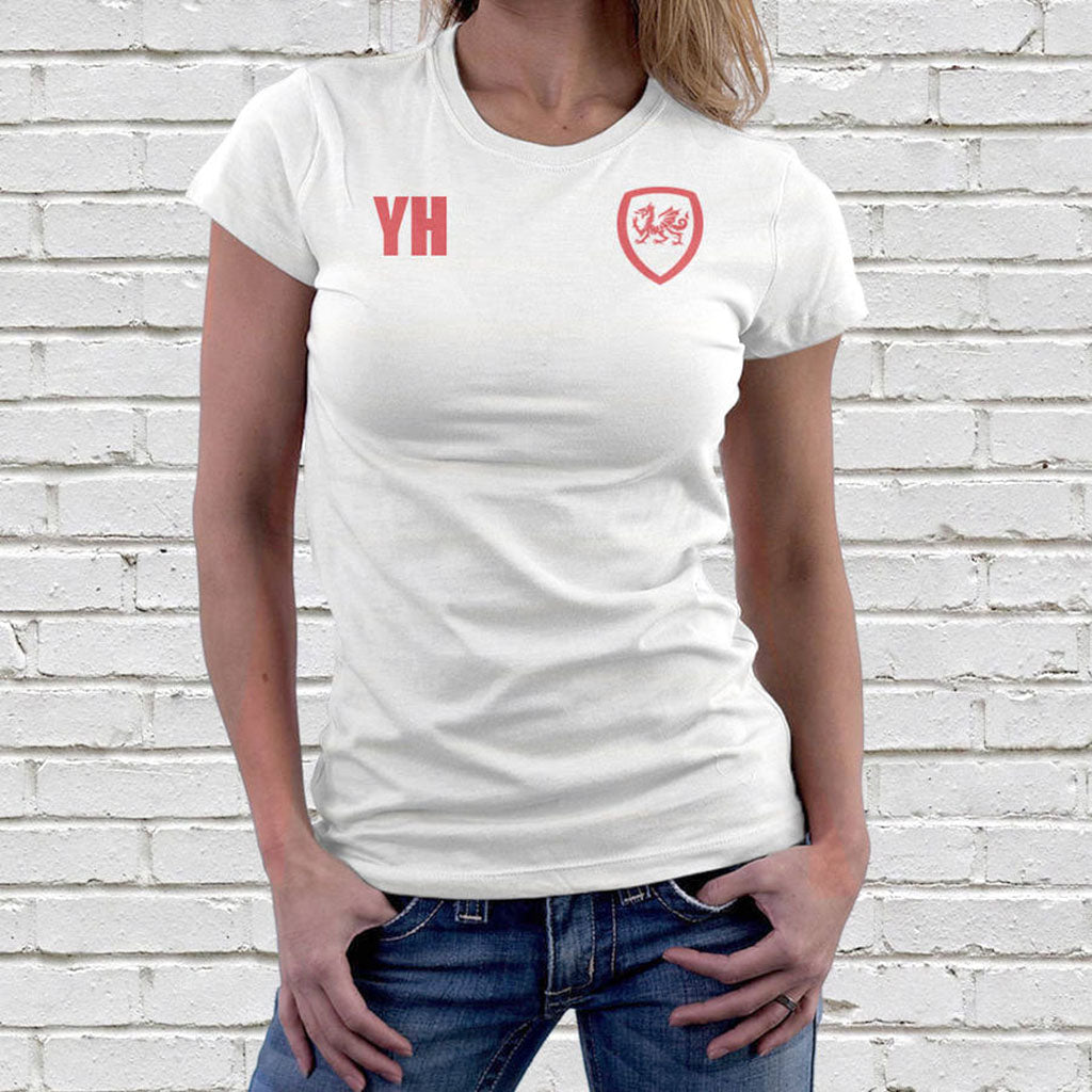 Personalised Wales Football Supporters Ladies T-Shirt