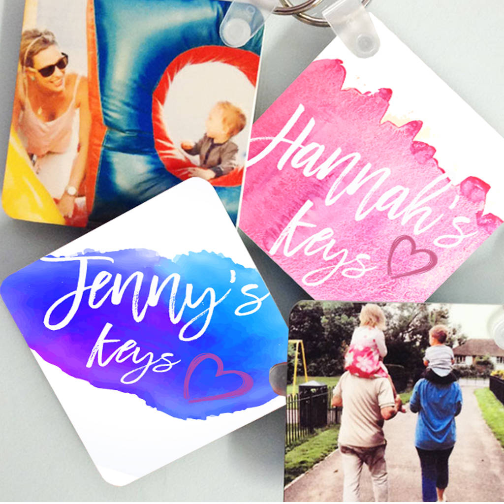 Personalised Watercolour Style Name Keyring - Instajunction