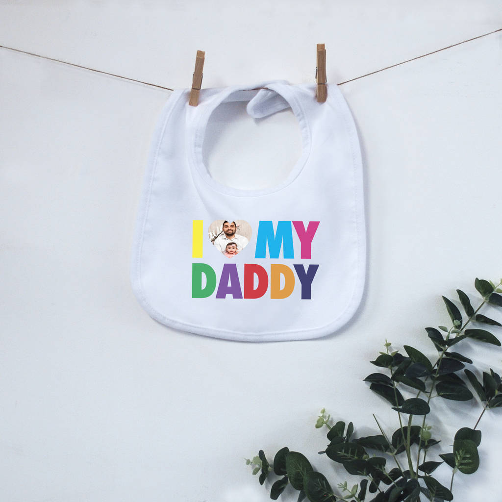 Photo Personalised 'I Love My?' Bib - Instajunction