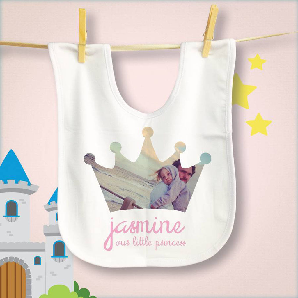 Photo Personalised Princess Baby Bib