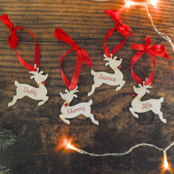 Set Of Four Personalised Reindeer Xmas Decorations - Instajunction