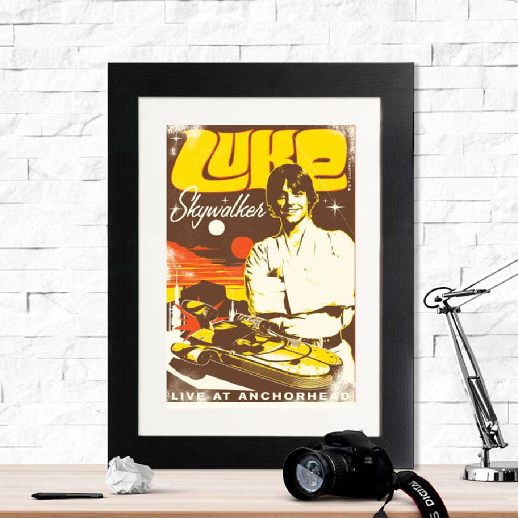 Star Wars Luke Gig Poster Framed Print - Instajunction